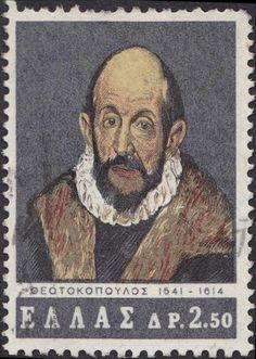Δομήνικος Θεοτοκόπουλος-El Greco 1541 - 1614 Greek worked in Italy and Spain Renaissance And Reformation, Greek Culture, Mail Art, Stamp Collecting, Postage Stamps, Famous People, History, Gallery, Artist