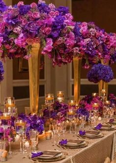Pink Purple and Gold Wedding Reception. we'll never be this royal! Quinceanera Centerpieces, Table Centerpieces, Wedding Centerpieces, Purple Centerpiece, Chandelier Centerpiece, Quinceanera Party, Wedding Colors, Wedding Flowers, Purple And Gold Wedding