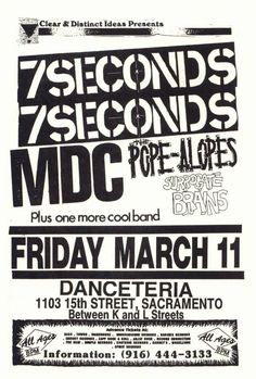 Music Flyer, Sacramento, Cool Bands, 7 Seconds, Flyers, Punk, Ruffles, Punk Rock, Leaflets