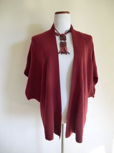 NEW NORDSTROM COLLECTION BURGUNDY 100% CASHMERE OPEN FRONT LAGENLOOK CARDIGAN L #Nordstrom #Cardigan