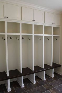 Custom built mudroom lockers with upper cabinets solid maple bench matching base molding and crown molding PROJECT GALLERY Carpentry Plus Custom b… – Mudroom Entryway Mudroom Cubbies, Mudroom Cabinets, Mudroom Laundry Room, Upper Cabinets, Mud Room Lockers, Entry Lockers, Entry Hallway, Cupboards, Base Moulding