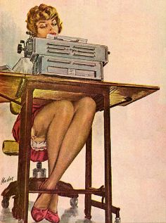 After you get through admiring the legs, I have to point out that impressive typewriter. ~  by Sidney Porcelain.