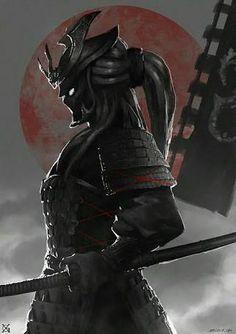 'Dark Samurai Warrior' by Ronin Samurai, Samurai Warrior, Female Samurai, 47 Ronin, Ninja Warrior, Samurai Tattoo, Dark Fantasy, Fantasy Art, Fantasy Blade