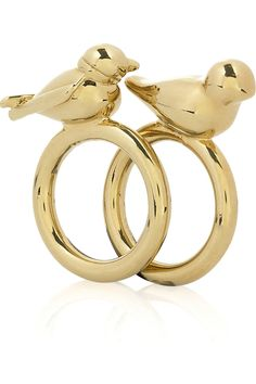 LOVE MINE : Lovebird Rings by Marc by Marc Jacobs: Set of 2 gold-toned brass rings.