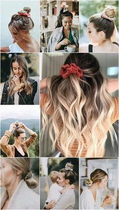 Scrunchie ou frufru dos anos 80 e 90 está de volta - Easy Hairstyles Scrunchies, New Hair, Your Hair, Curly Hair Styles, Hair Accessories For Women, Hair Dos, Cute Hairstyles, Ponytail Hairstyles Tutorial, Hair Inspiration