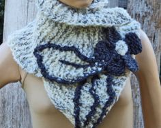 Crochet Scarf Capelet cobalt Blue Neck Warmer Wedding by Degra2