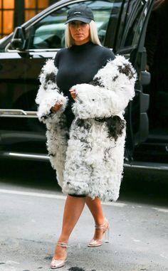 It's Cruella de Vil 2.0 as Kim Kardashian Wears Yet Another Massive Fur Coat in New York | E! Online