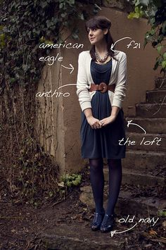 Maybe not w the blue tights Navy Dress Outfits, Navy Blue Dresses, Casual Outfits, Cute Outfits, Fashion Outfits, Dress With Cardigan, Belted Dress, White Cardigan, Blue Tights