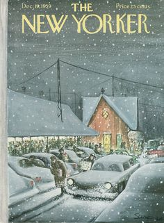 The New Yorker Cover - December 1959 (art by Charles Saxon). - New Yorker Cover Quiz The New Yorker, New Yorker Covers, Christmas Cover, Christmas Past, Vintage Christmas, Xmas, 1950s Christmas, Christmas Toys, Illustration Noel