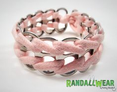 Sweet Whisper Pink Upcycled Soda Tab Bracelet by RandallWear