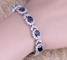 Black Sapphire 925 Sterling Silver Overlay Link Chain Bracelet 7 inch
