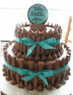 Hershey kiss and kitkat chocolate birthday cake