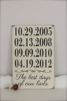 Important Dates Sign: This wood wall art sign consists of important dates in your life. They can be the day you met your spouse, your wedding date,