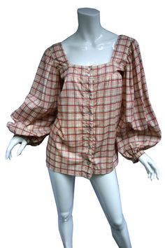 YSL Yves Saint Laurent Cotton Peasant Blouse with by Vintageables