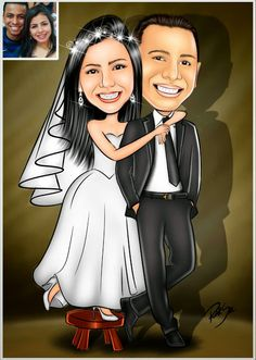 Wedding Card Wordings, Wedding Cards, Wedding Caricature, Caricature Drawing, Wedding Background, Couple Portraits, Vector Art, Disney Characters, Fictional Characters
