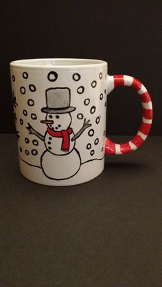 Hand Painted Christmas Cup, Front View By Kimberley Holland