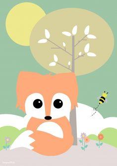 Een leuke poster van Designed4kids met daarop een lief vosje en een bijtje. Voor in de kinderkamer.