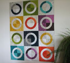 Modern Quilt Art Quilt Lap Quilt Rainbow by CentralFabrications