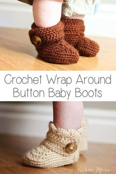 Crochet+wrap+around+button+baby+boots-+girls+and+boys