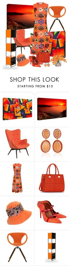 """""""Orangey"""" by nefertiti1373 ❤ liked on Polyvore featuring NuCasa, Pastel, Sabbadini, Victoria, Victoria Beckham, Christian Dior, Malone Souliers, Tonon and Ethan Allen"""