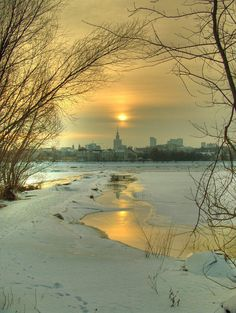 Warsaw in winter, Poland