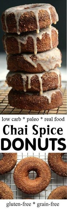 So it turns out today is National Donut Day but you know what I have found? Any day can be a guilt-free donut day when you eat these low carb baked chai spice donuts. These coconut flour paleo donuts are loaded with all the right ingredients to hel Baked Doughnut Recipes, Paleo Donut, Healthy Donuts, Baked Donuts, Keto Donuts, Weight Watcher Desserts, Low Carb Desserts, Low Carb Recipes, Real Food Recipes