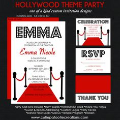 Hollywood Bat Mitzvah Invitation - Red Carpet Event - RSVP Reply Card - Reception Card - Information Card - Thank You Note by OneWhimsyChick on Etsy