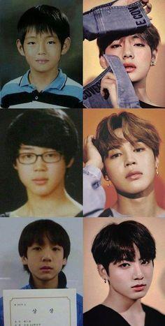 Make line BTS now and then Jungkook Jimin V Vmin, Bts Taehyung, Bts Jimin, Bts Bangtan Boy, Taekook, Foto Bts, Rap Monster, K Pop, Cartoon Meme