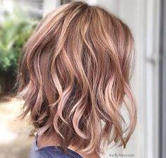 Short Rose Gold Brown Hair