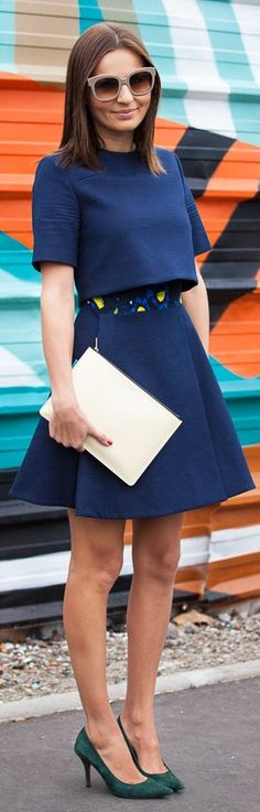 Street Style - Part Two by Josie Loves - love the blue with the dark green suede heels. #fashion #style #chic