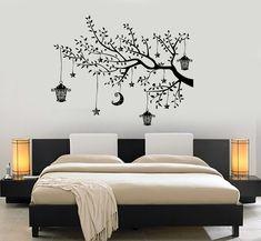 Wall Decal Branch Tree Moon Lantern For Bedroom Vinyl Sticker Mural Art Tree Wall Painting, Simple Wall Paintings, Creative Wall Painting, Creative Wall Decor, Bedroom Wall Designs, Wall Decals For Bedroom, Wall Art Designs, Wall Mural, Mural Art