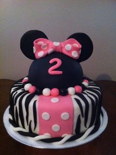 Minnie Mouse Cake with zebra stripes Aaralynns Birthday