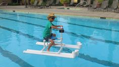 Hydrojet powered personal pool pontoon from PVC and a bilge pump