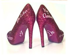 $10 OFF with code: PINNED10 Sparkly Burgundy Wine Glitter Heels wedding bride Peep toe Pumps shoes Personalized