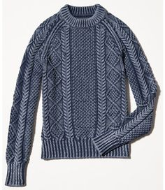 Signature Cotton Fisherman Sweater, Washed Indigo.  Looks a little manly but looks warm and I'm sure I can make it look cute!