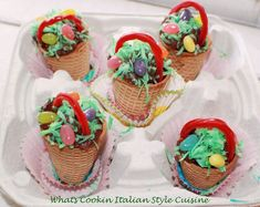 Ice Cream Cone Easter Basket Cupcakes #bringJOYhome #recipes