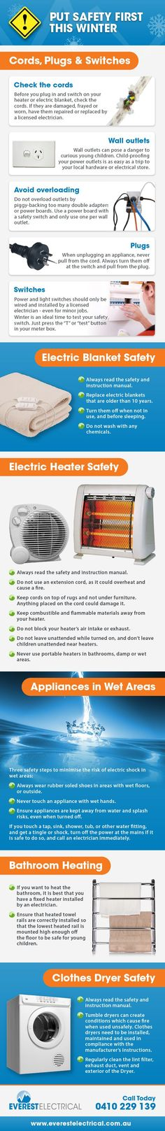 Everest Electrical provide some great electrical safety tips for this Winter Family Safety, Safety First, Home Safety, Child Safety, Safety Pictures, Office Safety, Fire Safety Tips, Electrical Safety, Electrical Engineering