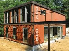 orange shipping container house