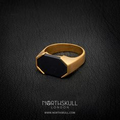 Finished in Luxurious brushed gold, our Asiri Ring is sure to add an element of luxury to your attire. Set with a specially cut natural black onyx stone, it's perfect for both smart & casual outfits.   Available now at Northskull.com [Worldwide Shipping] #Luxury #Jewelry #MensAccessories