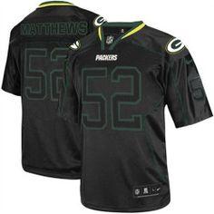 Men's Nike Green Bay Packers #52 Clay Matthews Elite Lights Out Black Jersey