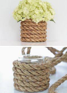 Nautical Rope Vase | Click Pic for 26 DIY Wedding Centerpieces on a Budget | DIY Wedding Decorations for Outside