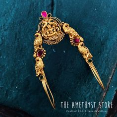 silver with gold plated Vanki studded with semi precious stones. Vanki Designs Jewellery, Jewelry Design Earrings, Gold Earrings Designs, Gold Jewellery Design, Gold Temple Jewellery, Real Gold Jewelry, Arm Bracelets, Fashion Jewelry, Bridal Bangles
