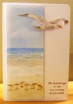 Vellum waves by Tilly - Cards and Paper Crafts at Splitcoaststampers. Love the use of the vellum! Card Making Inspiration, Making Ideas, Nautical Cards, Beach Cards, Paper Cards, Fabric Cards, Men's Cards, Bird Cards, Marianne Design