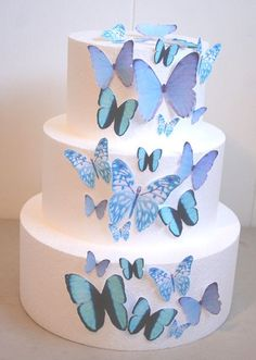 Edible Butterfly Cake Decorations, Light Blue Edible Butterflies, Set of 24 DIY Cake Decor, Edible Cake Decorations, Blue Wedding Cake Butterfly Wedding Cake, Butterfly Cakes, Blue Butterfly, Purple Desserts, Purple Cakes, Blue Birthday Cakes, Quince Cakes, Edible Cake Decorations, Sweet 16 Cakes
