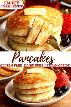 An easy gluten-free pancake recipe with a dairy-free and Vegan option. A gluten-… An easy gluten-free pancake recipe with a dairy-free and Vegan option. A gluten-free pancake mix made with a few simple ingredients that make fluffy pancakes every time! Dairy Free Recipes Easy, Dairy Free Snacks, Dairy Free Breakfasts, Dairy Free Diet, Gluten Free Desserts, Gluten Free Pancake Recipe Easy, Simple Pancake Recipe, Gluten Free Baking Recipes, Gluten Free Recipes For Breakfast