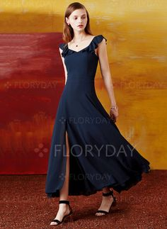 Dresses - $93.69 - Polyester Solid Cap Sleeve Maxi Casual Dresses (1955107498)