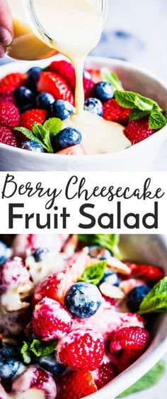 Berry Cheesecake Fruit Salad is going to be your new favorite way to eat fruit! Loaded with fresh berries and the creamiest homemade HEALTHY orange vanilla custard, it's the perfect side dish for Easter, Mother's Day or BBQ picnics this summer. A swimsuit season friendly dessert that tastes absolutely decadent at just 150 calories per serving. Make it for your family this week! | #recipe #easyrecipes #healthy #fruitsalad #easter #mothersday #bbq #cleaneating #summer #spring