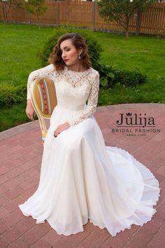 Simple Long Sleeve Lace Back Wedding Dress, $849 by Etsy sellerJulijaBridalFashion