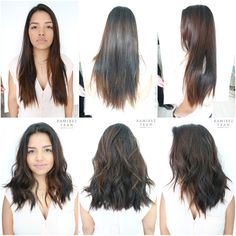 This client got an absolutely gorgeous cut from Anh while we were visiting Miami this week. She had very long hair and wanted to change it up. Anh took a. Hair Color And Cut, Cut My Hair, Medium Hair Styles, Short Hair Styles, Very Long Hair, Hair Dos, Balayage Hair, Pretty Hairstyles, Updo Hairstyle