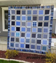 Quilt Finish: Show Off (Jo's Country Junction) Dog Quilts, House Quilts, Baby Quilts, Shirt Quilts, Charm Square Quilt, Waiting In The Wings, Plaid Quilt, Wedding Ring Quilt, Cotton Shirts For Men